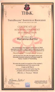 Theta Healing - Certyfikat Nauki Mistrza Theta Healing® - 06.09.2013