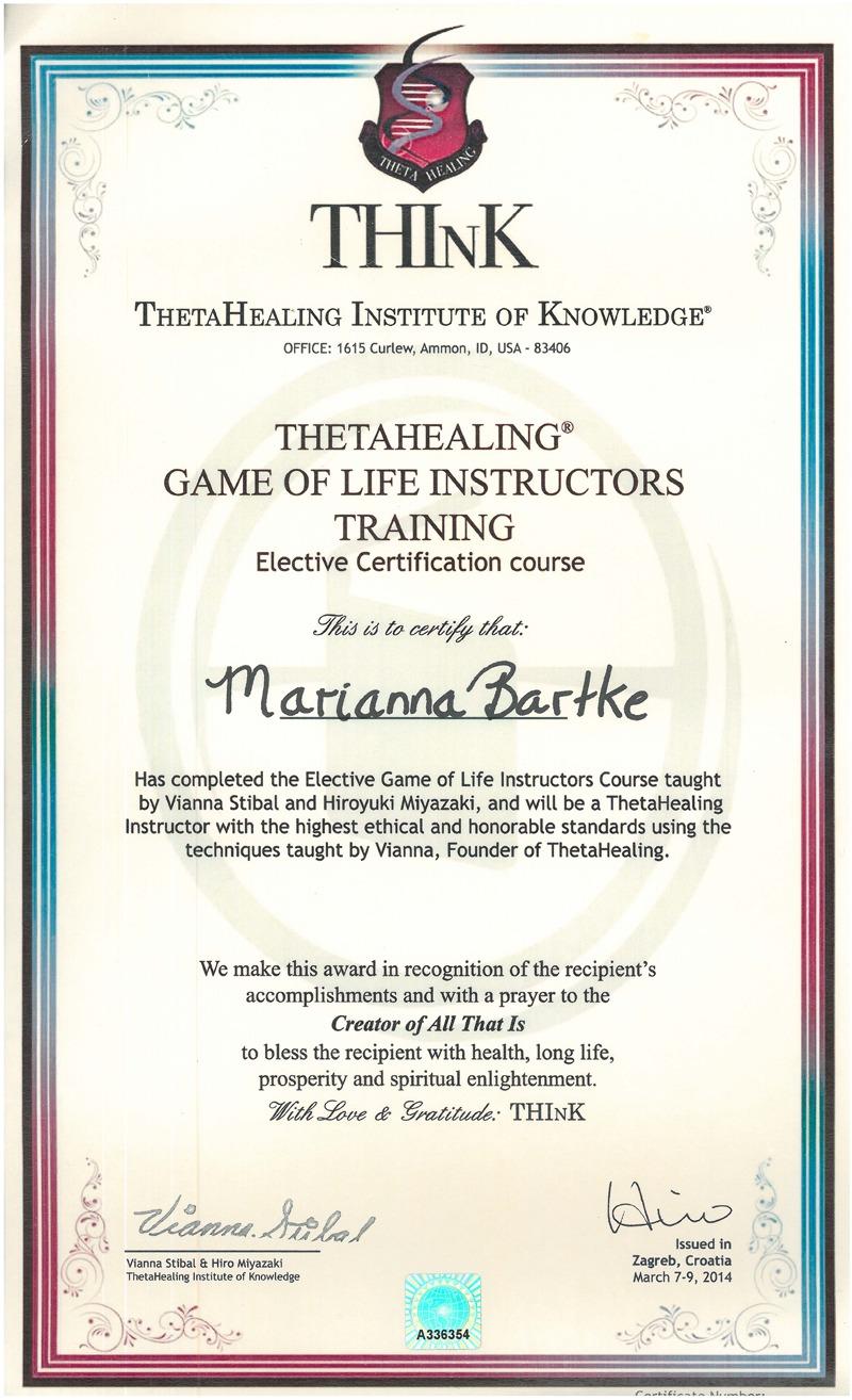 Theta Healing® - Instruktor Życie jest Grą - 09.03.2014